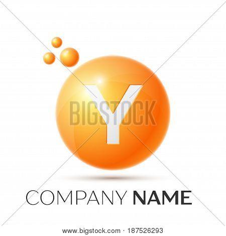 Y Letter splash logo. Orange dots and circle bubble letter design on grey background. Vector Illustration