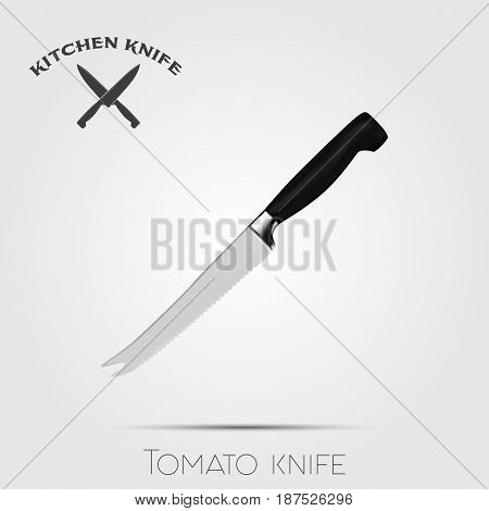 Realistic kitchen knife. Vector illustration isolated on light background.