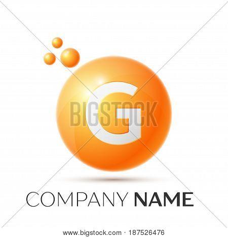 G Letter splash logo. Orange dots and circle bubble letter design on grey background. Vector Illustration