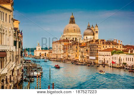 Canal Grande With Santa Maria Della Salute At Sunset In Venice, Italy