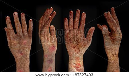 Bloody hands background, maniac, Blood zombie hands