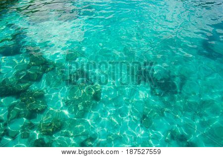 Looking to Movement of Crystal clear water surface through reef underwater