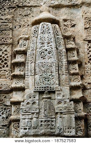 India Detail on the wall in Fort Kangra near Kangra city. Ruined Lakshmi Narayan tempel
