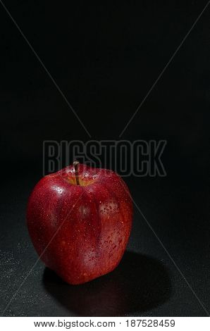Red Wet Apple With Drops