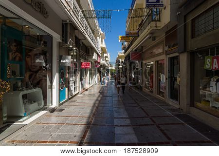 HERAKLION GREECE - JULY 16 2016: Crete. The narrow shopping streets in the old part of the city. Heraklion - the capital and the largest city on the island.