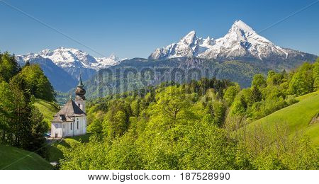 Church Of Maria Gern In Springtime, Berchtesgadener Land, Bavaria, Germany