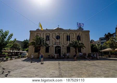 HERAKLION GREECE - JULY 16 2016: The Church of Saint Titus - Cathedral of the Orthodox Church of Crete.
