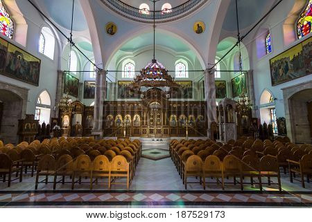 HERAKLION GREECE - JULY 16 2016: Interior of the Church of Saint Titus - Cathedral of the Orthodox Church of Crete.