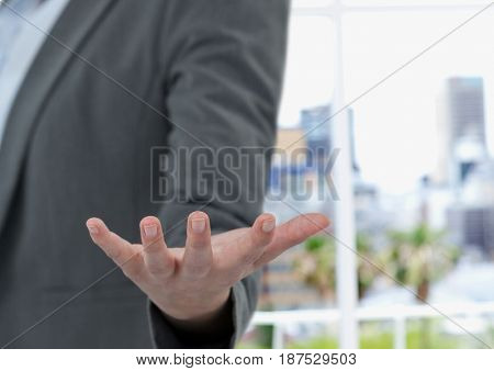Digital composite of Cropped image of businesswoman gesturing