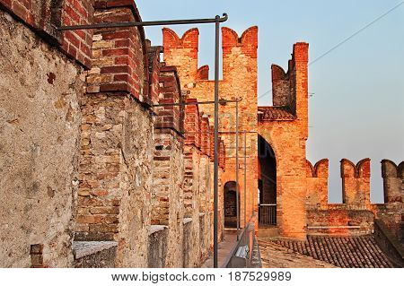 Aged Wall And Tower Of Medieval Castle