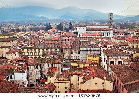 View Of The Aged Medieval Town Of Lucca, Italy