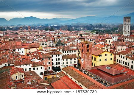 Historic Old Medieval City And Mountains, Lucca,