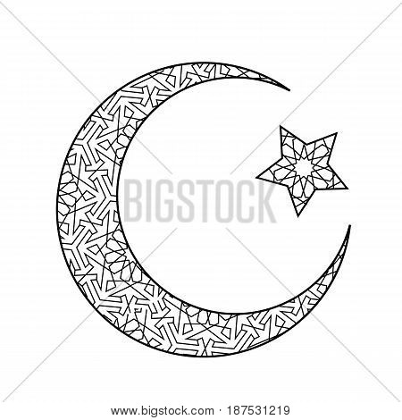 Crescent moon and star isolated on white