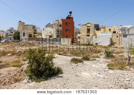 HERAKLION GREECE - JULY 16 2016: Crete. Residential areas outside the tourist destinations.