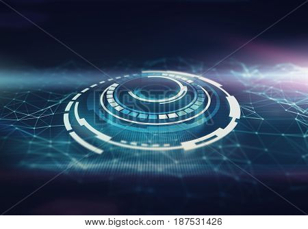 Futuristic space round interface with abstract low poly background. Dark blue close up with purple color spot. Network crystall cel.