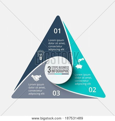 Vector triagle infographic. Template for cycle diagram, graph, presentation and chart. Business concept with 3 options, parts, steps or processes. Data visualization.