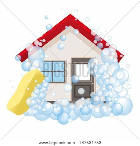 Conceptual logo and the poster for cleaning. The house in foam. Isolated sign cleaning service on a white background. Vector illustration.