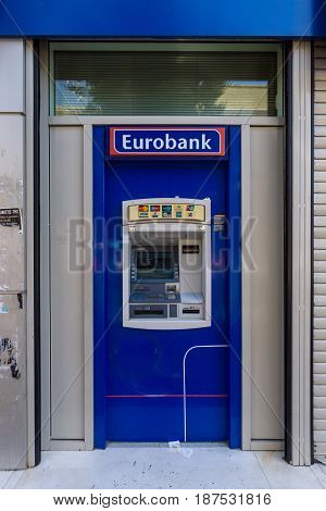 HERAKLION GREECE - JULY 16 2016: ATM Eurobank Ergasias. Eurobank Ergasias is the third largest bank in Greece.