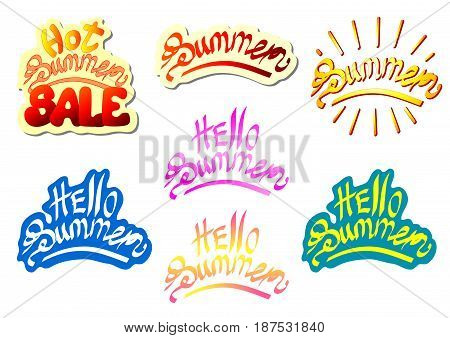 Set lettering summer multi color. Hello, hot, sale, red, yellow, pink, blue and shadows. Isolated on white background. Vector illustration of a horizontal format.