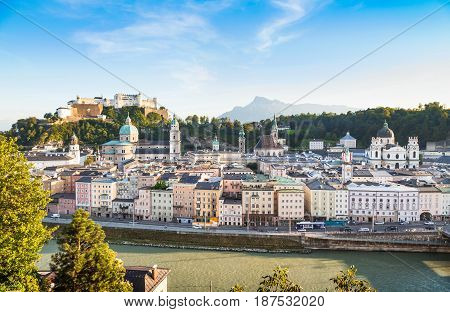 Panoramic View Of Salzburg Skyline With River Salzach At Sunset As Seen From Kapuzinerberg, Salzburg