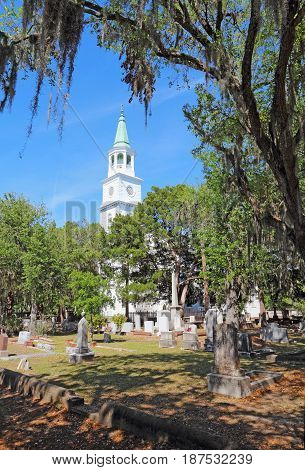 Spire and graveyard framed by Spanish moss-covered trees at the parish church of St. Helena in the historic district of downtown Beaufort South Carolina vertical