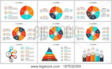 Business data visualization. Abstract flat elements of cycle diagram with 3, 4, 5, 6, 7 and 8 steps, options or processes. Vector business template for presentation. Creative concept for infographic.