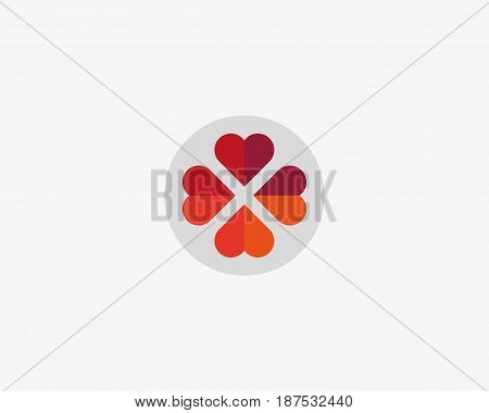 Four hearts social vector symbol. Heart cross logotype. Abstract flower leaf medical logo icon sign