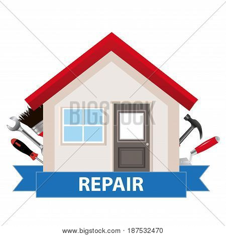 The concept for commercial construction and home renovation. House with tools and tape. Vector illustration.