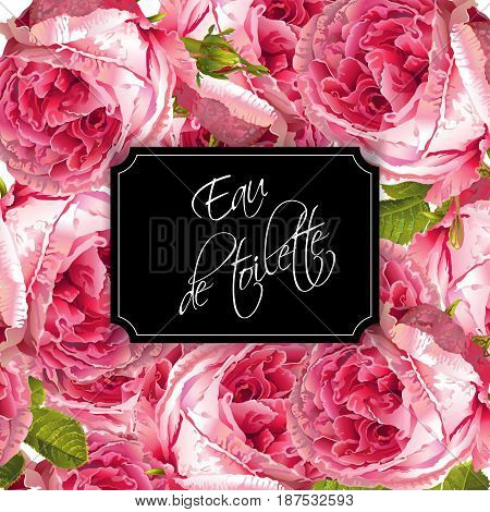 Vector eau de toilette luxury banner with garden roses background. Can be used as floral design for natural cosmetics, perfume, health care products, greeting cards, wedding invitations