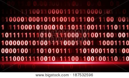 Digital Binary Data Scan Background Red Interface