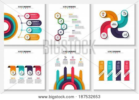 Business data visualization. Process chart. Abstract elements of graph, diagram with 4 and 5 steps, options or processes. Vector business template for presentation. Creative concept for infographic.