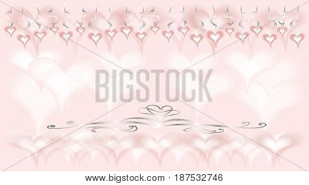 card with hearts for wedding or Valentine - pink,  vector doodle from lines and spots