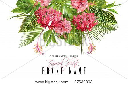 Vector botanical banner with tropical leaves and red exotic flowers on white background. Bright design for cosmetics, spa, health care products, travel company, wedding or summer background