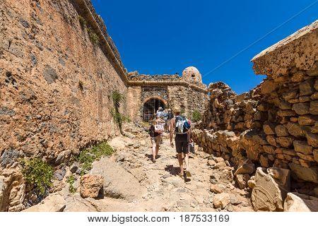 CRETE GREECE - JULY 18 2016: The ruins of ancient Venetian fortress on the island Imeri Gramvousa. Mediterranean Sea.