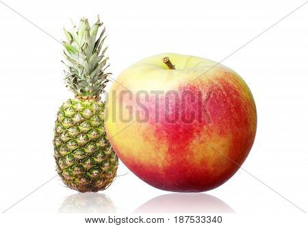 Apple and pineapple on a white background