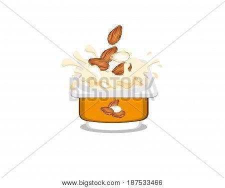 Almond flavored, creamy yogurt on white background