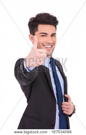 happy businessman making the ok thumbs up hand sign on white background