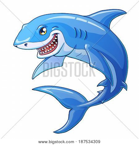 The friendly cheerful kind smiling shark color full on a white background. Marine predatory animal fish. Vector illustration.