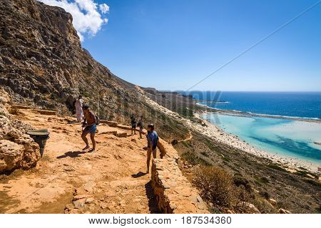 CRETE GREECE - JULY 18 2016: The mountain path for the descent from the top plateau to Balos beach. Crete. Greece.