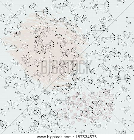 Botanical pattern with dandelions. Summer theme floral