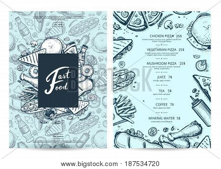 American food and drink menu design with prices. Fast food vector template with hand drawn pizza, hot dog, chicken, drink pencil doodles. Cafe price catalog, junk food card with snack linear sketches.