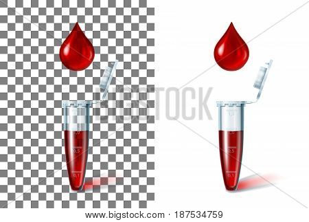 Microtest tube for laboratory researches and a blood drop over her. On a transparent and white background separately. Concept of the medical test, science, pcr analysis. Realistic vector illustration.