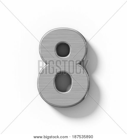 Number 8 3D Metal Isolated On White With Shadow - Orthogonal Projection