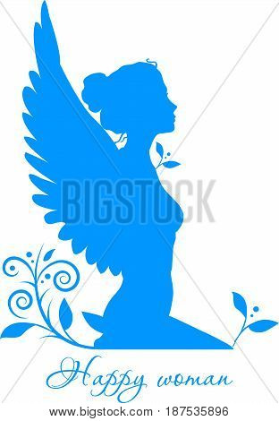 Sitting woman looking away isolated on white background. Separate illustration with a sign Happy woman .