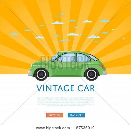 Website design with classic retro car. Vintage old school family auto vehicle on yellow striped background banner. Auto business, sale or rent transport online service vector illustration concept