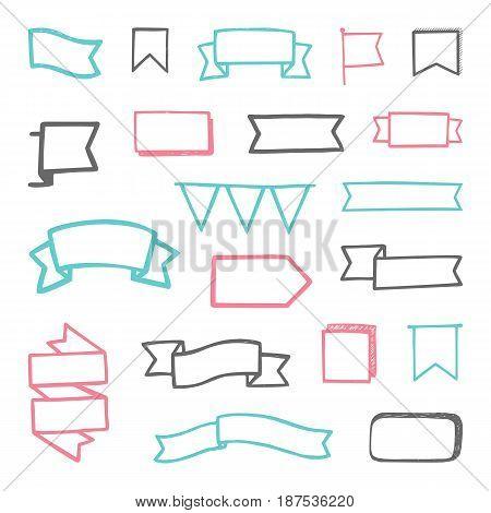Set of hand drawn sketchy ribbons. Vector template