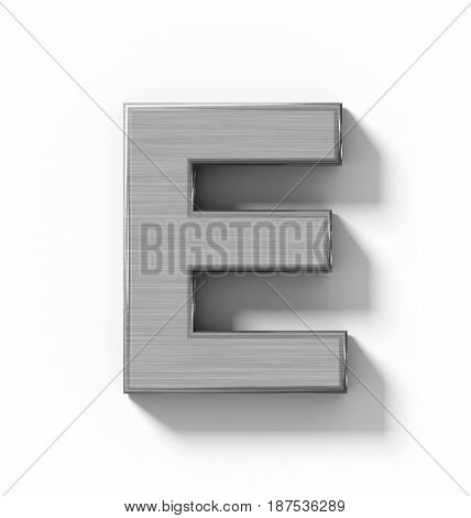 Letter E 3D Metal Isolated On White With Shadow - Orthogonal Projection