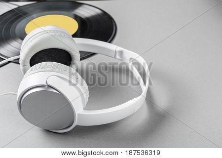 vintage vinyl on gray background .close up