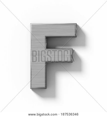 Letter F 3D Metal Isolated On White With Shadow - Orthogonal Projection