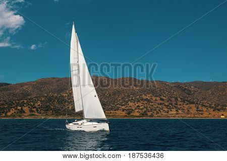 Sailing ship luxury yacht boat in the Sea